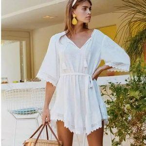 Summer Casual Beach Short Dress White V neck